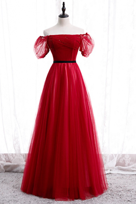 Burgundy tulle lace long prom dress burgundy formal dress,PL1530