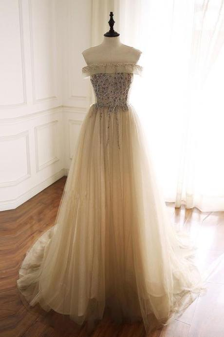 Champagne tulle sequin beads long prom dress tulle formal dress,PL1537