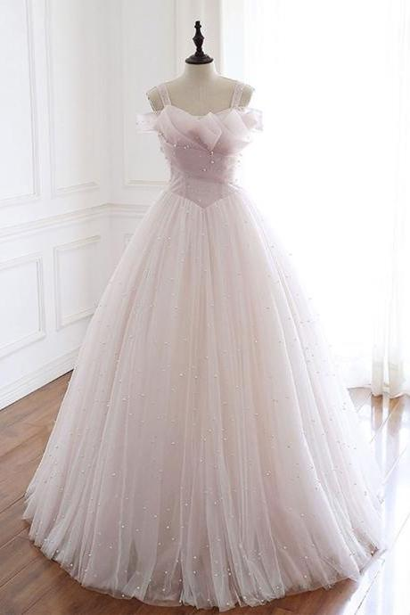 Light pink tulle long prom dress pink tulle formal dress,PL1547