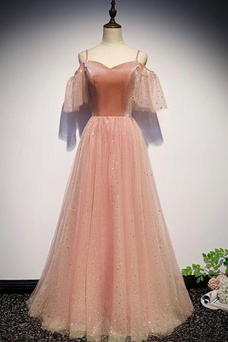 Pink sweetheart tulle long prom dress pink tulle formal dress,PL1549