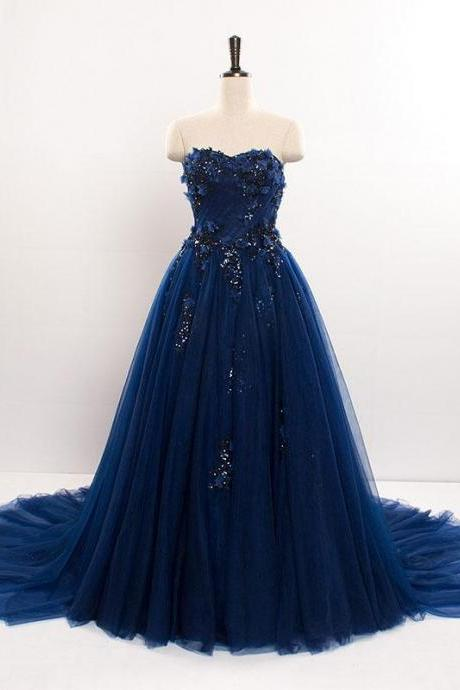Dark blue sweetheart tulle lace long prom dress blue tulle evening dress,PL1560