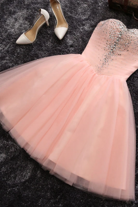 Pink A line sweetheart neck short prom dress, homecoming dresses,PL1622