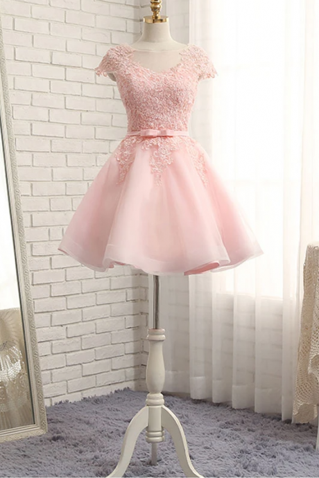 High quality a line lace short prom dress, homecoming dresses,PL1623