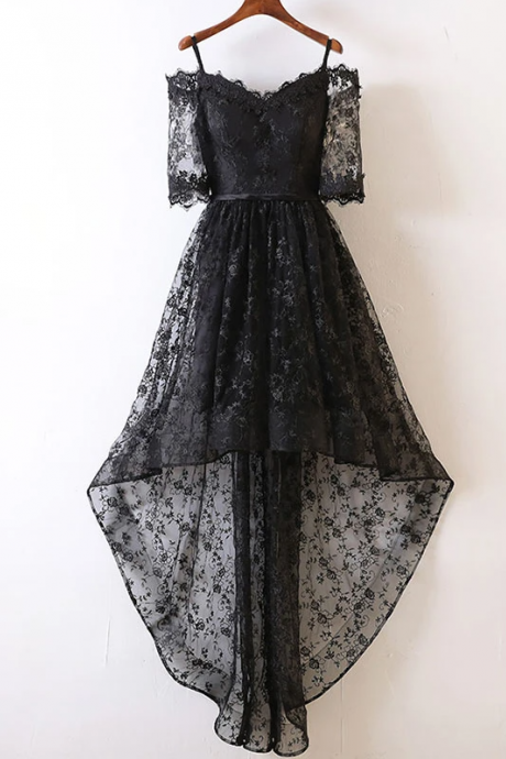 Black high low lace prom dress, black homecoming dress,PL1624