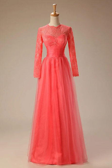 Coral Red Long Sleeves Lace Formal Prom Evening Dress,PL1827