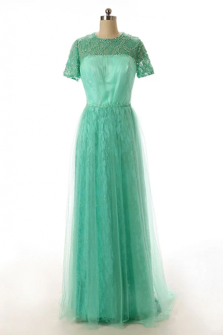 Green Modest Lace Formal Dress with Short Sleeves,PL1828