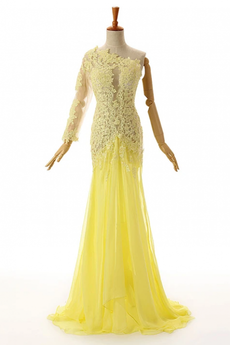 Yellow One Shoulder Lace Formal Prom Evening Dress,PL1829