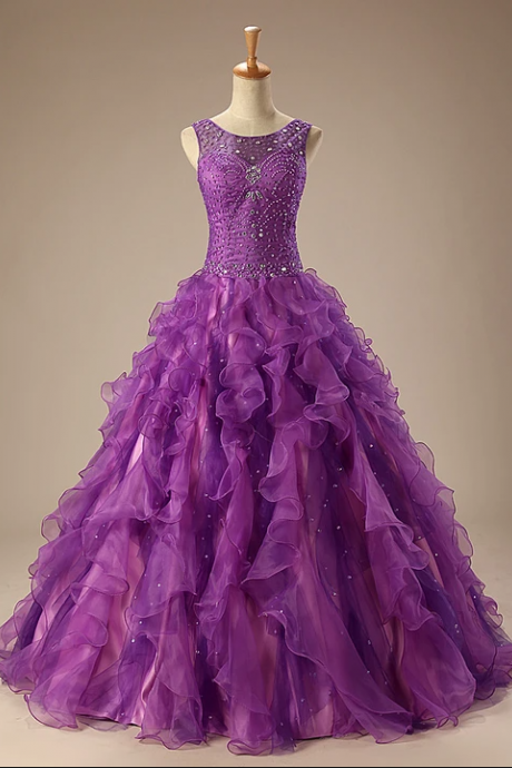 Purple Quinceanera Ball Gown Prom Dress with Ruffle Skirt,PL1830