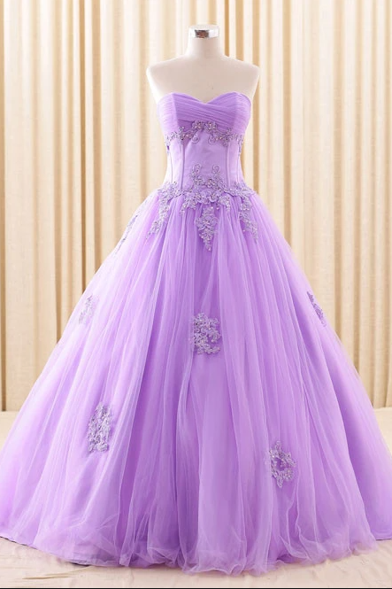 Purple Strapless Lace Ball Gown Dress,PL1831