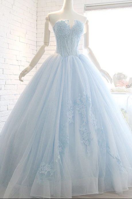 Powder Blue Ball Gown Lace Formal Evening Dress,PL1832
