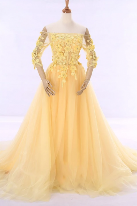 Yellow Off Shoulder Formal Evening Gown with Daisy Flowers,PL1833