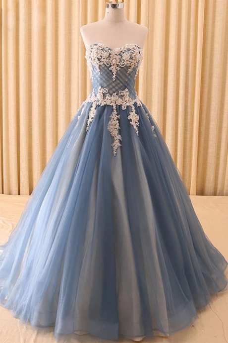 Gray Strapless Lace Ball Gown Evening Formal Dress,PL1836