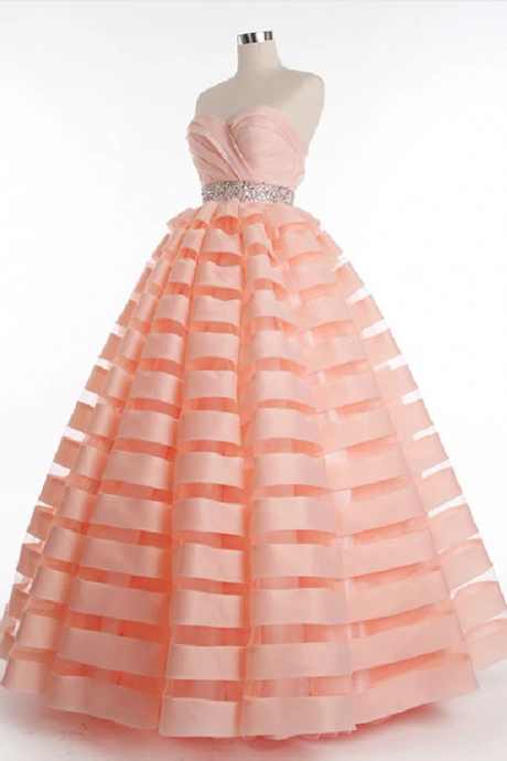 Strapless Organza Stripes Ball Gown Prom Evening Dress,PL1838