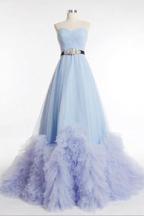 Strapless Sky Blue Tulle A-line Princess Formal Evening Dress,PL1839