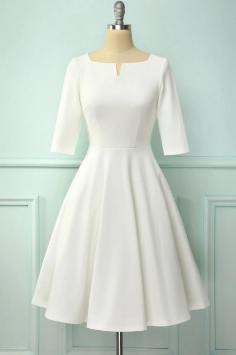 White short sleeves homecoming dress ,PL1842