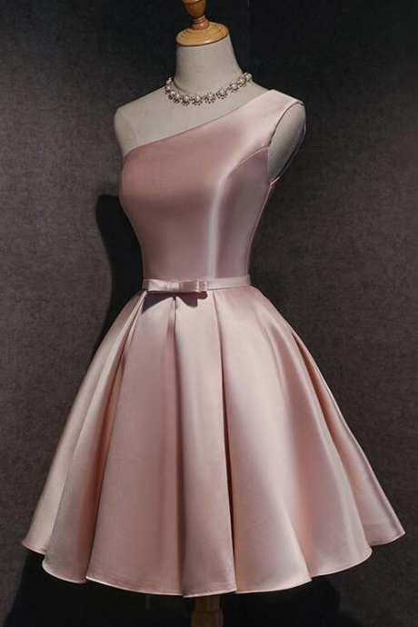 Pink Satin One Shoulder Homecoming Dress,PL1846