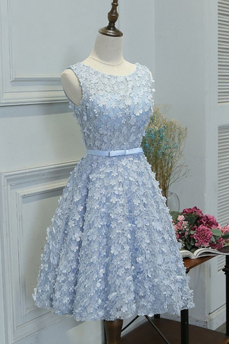 A-Line Boat Neck Knee-Length Blue Lace Homecoming Dress with Appliques ,PL1847