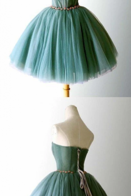Elegant tulle strapless short homecoming dress, sweet ball gown ,PL1849
