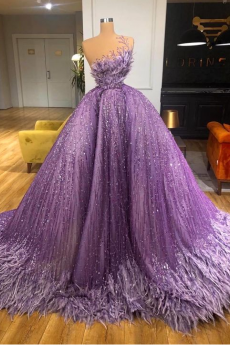 purple prom dresses, sparkly prom dress, ball gown prom dresses, vestido de fiesta, feather prom dresses, 2021 prom dresses,PL1960