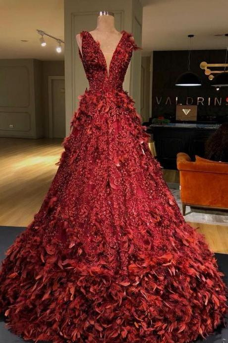 ball gown prom dresses red sparkly feather luxury prom gown ,PL1975