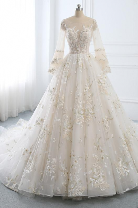 Wedding Dress Long Sleeve A-line Wedding Dress Lace,Bridal Dress Gold Lace,Wedding Dresses White Ball Gown,Wedding Dress with Train,PL2109