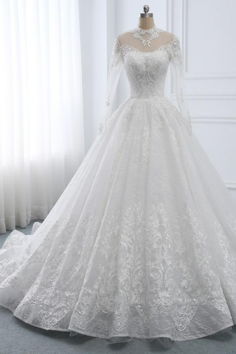 Wedding Dress Long Sleeve A-line Wedding Dress Lace,Bridal Dress High Neckline,Wedding Dresses White Ball Gown,Wedding Dress with Train,PL2112