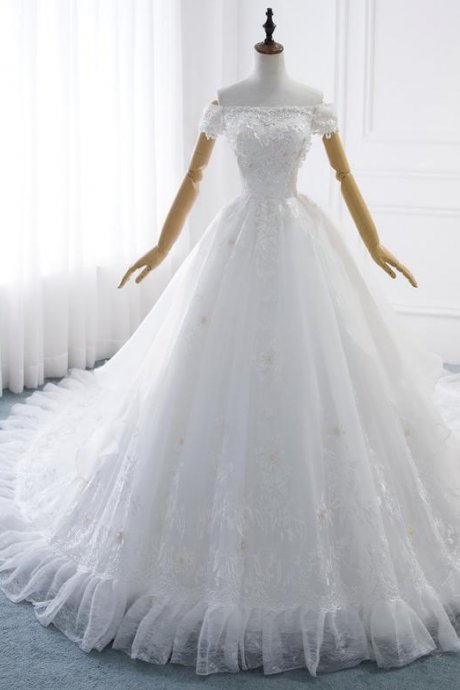 Wedding Dress Sequied Off Shoulder Bridal Gown with Pearls Wedding Gown Lace Princess Ball Gown Corset,PL2113