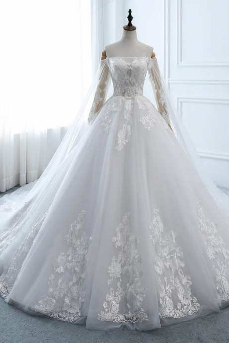 Wedding Dress Long Sleeve A-line Puffy Wedding Dress Lace,Bridal Dress Lace,Wedding Dresses White Ball Gown,Wedding Dress with Long Train,PL2116