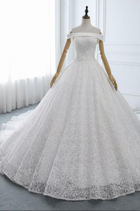 Beautiful Heavy Lace Wedding Dress White Wedding Gown Sexy Off-shoulder Bridal Gown A-line Church Wedding Ball Gown with Train Custom,PL2119