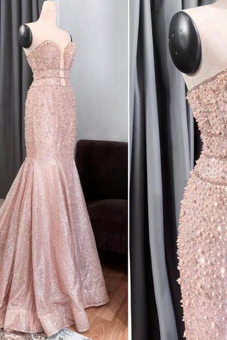 Mermaid dress in sparkly blush color/ Non-traditional wedding gown / Formal evening prom dress/ sweetheart with middle cut-out,PL2623