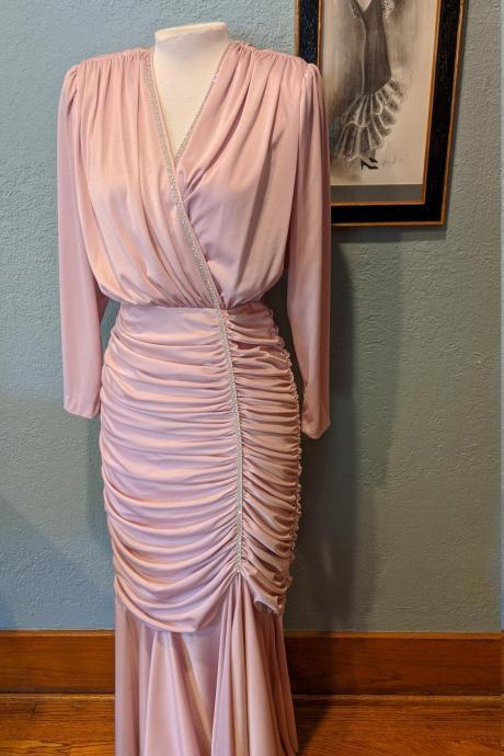 80's Ruched Rhinestone Long Evening Dress Light Pink Wiggle Dress Tight folds gathered around Shoulders and Hips,PL2664