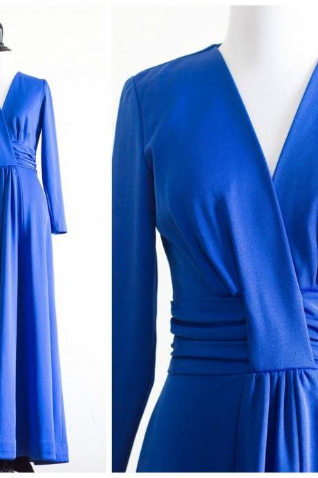 royal blue long sleeve floor length dress,PL2717