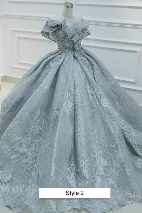 Sparkly grey sleeveless or drop sleeves ball gown wedding/prom dress with glitter tulle and court train,PL2912