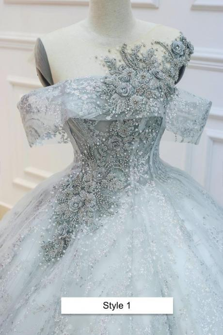 Sparkly grey sleeveless or drop sleeves ball gown wedding/prom dress with glitter tulle and court train,PL2913