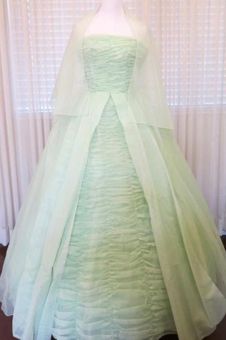 Mint Green Chiffon Vintage Ball Gown, Vintage Prom Dress,PL2922
