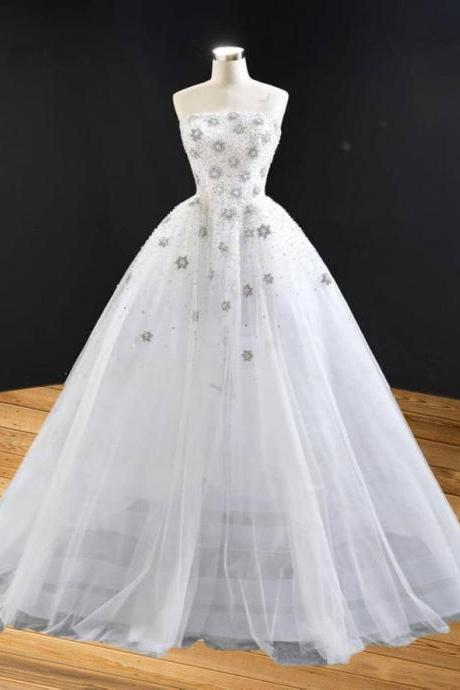 Designer White gown, ready to wear, wedding and bridal wear,PL2925