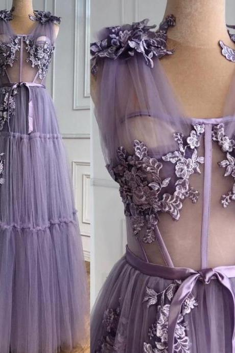 A-Line Lilac Flowers Evening Dresses Perspective floral Formal Party Wear Gown dubai evening dress,PL2926