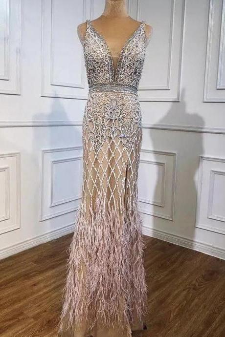 Luxury Feathered plunge V neck Evening Dress Heavy Beading Sequined Formal Party Wear Gown dubai evening dress,PL2928