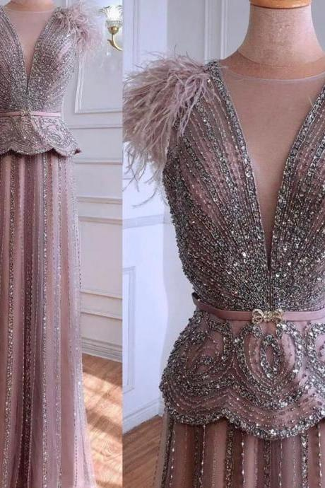 Pink Luxury Evening Dress feather shoulder Heavy full sleeve Beading Sequined Formal Party Wear Gown dubai evening dress,PL2929