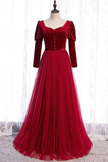 New!! Elegant Red Formal dress with long sleeve // Red formal dress // bridesmaid dresses Red / Long Sleeve Prom Gown / long evening dress,PL2932