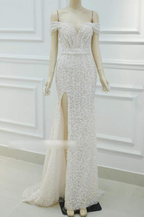 Luxury Beaded Mermaid Wedding Dress Off The Shoulder, Made to Order Sexy Slit Mermaid Bridal Gown With Elegant Bead/Lace Detailing,PL3371