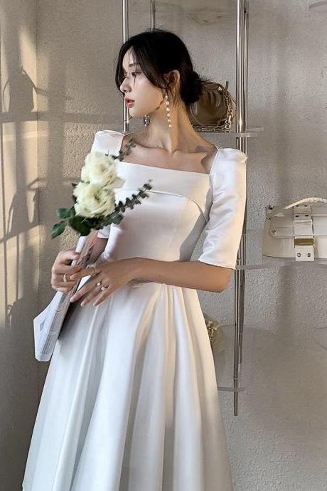 White small evening dress, new style, temperament, satin light wedding dress,custom made,cheap on sale,PL3600