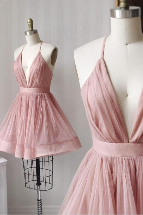 Simple v neck tulle pink short prom dress pink bridesmaid dress,PL3630
