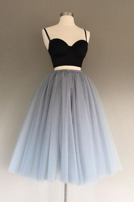 Gray tulle two pieces short prom dresses, cute homecoming dress,PL3632
