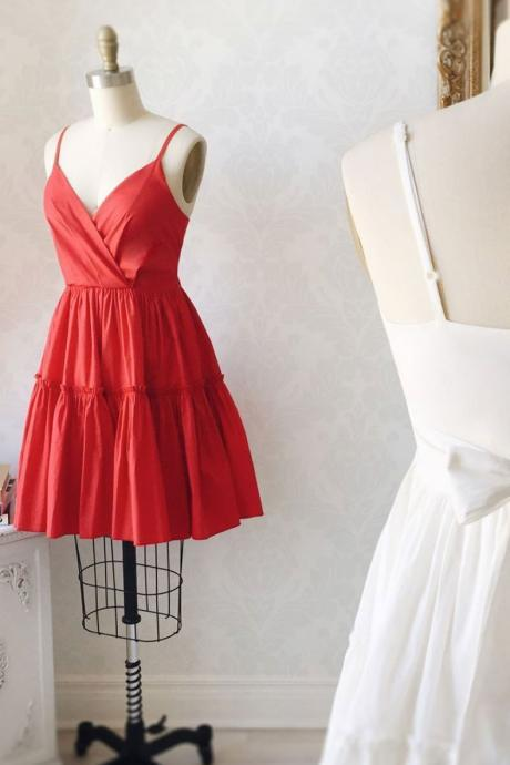 Simple satin red short prom dress red cocktail dress,PL3634