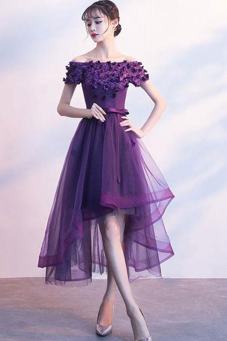 Purple tulle lace short prom dress, purple evening dress,PL3636