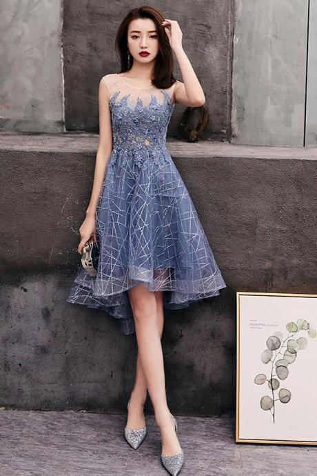 Blue round tulle lace short prom dress, blue homecoming dress,PL3637