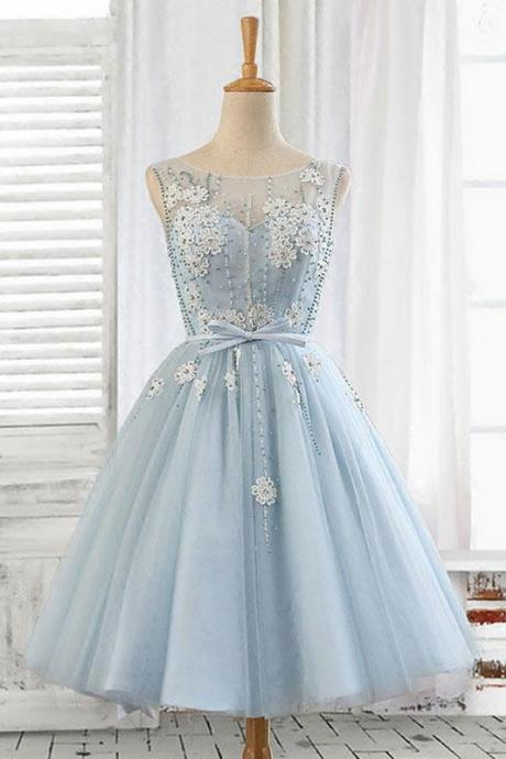 Light blue tulle short prom dress, blue homecoming dress,PL3638