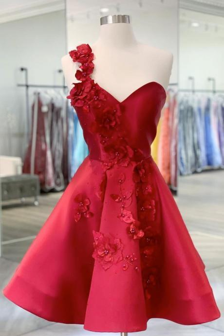 Burgundy v neck satin short prom dress one shoulder cocktail dress,PL3639