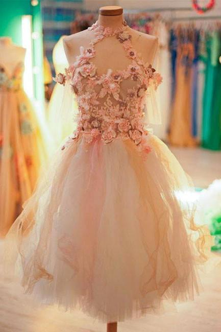 Cute tulle lace applique short prom dress, cute homecoming dress,PL3645